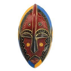 NOVICA Decorative Sese Wood Mask, Multicolor, Uzoma'