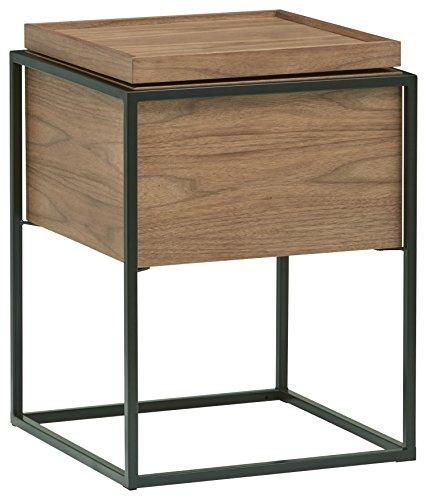 Rivet Axel Lid Storage Wood and Metal Side Table, Walnut