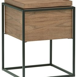 Rivet Axel Lid Storage Wood and Metal Side Table, Walnut