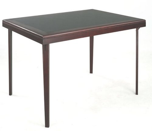 Cosco Rectangular Wood Folding Game Table with Vinyl Inset