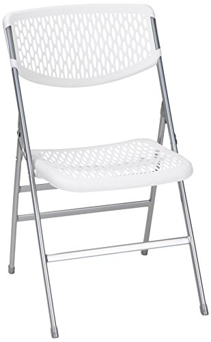 COSCO Commercial Resin Mesh Folding Chair, White, 4-pack