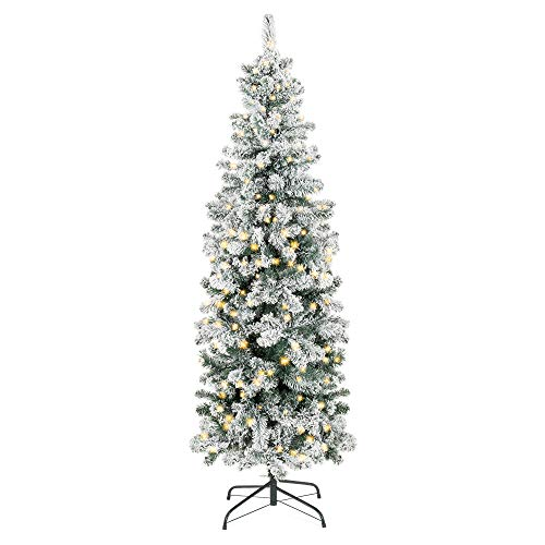 Best Choice Products 7.5ft Pre-Lit Artificial Snow Flocked