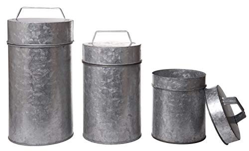 Red Co. Set of 3 Galvanized Metal Canisters with Handle