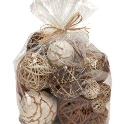 Thasaba Bag of Natural Fiber Decorative Balls Spheres Orbs