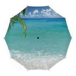 Travel Umbrella,Ocean Decor,Auto Open Close Umbrella 45 Inch