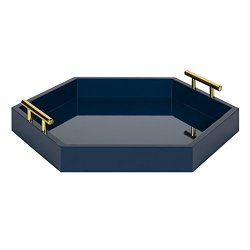 Kate and Laurel Lipton Decorative Tray, 18 x 18, Navy Blue