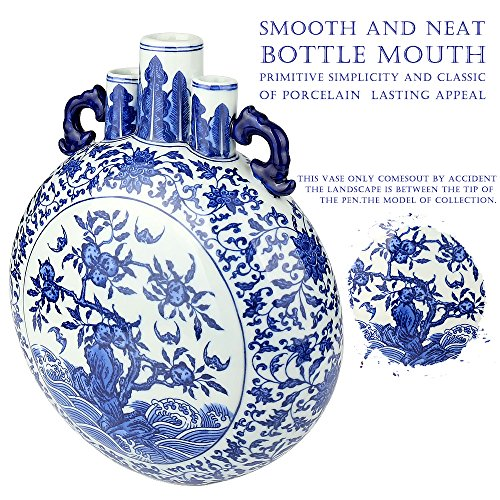 Zebre Blue and White Ceramic Vase, Traditional Chinese
