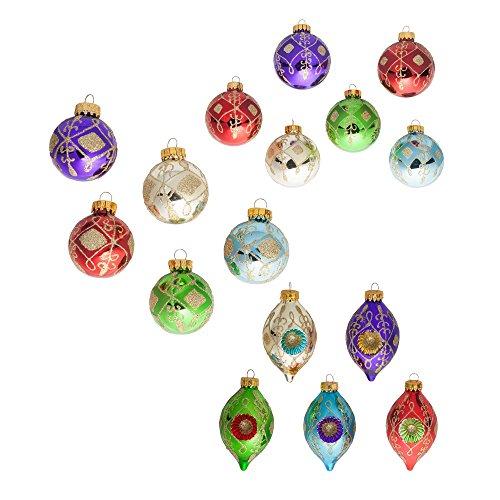 Kurt Adler Glass Multi-color Glittered Decorative Ball