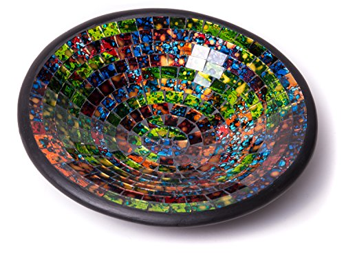 Glass Mosaic Round Accent Plate Platter Decorative