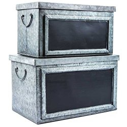Pam's Glam Set of Two Rustic Galvanized Tin Boxes