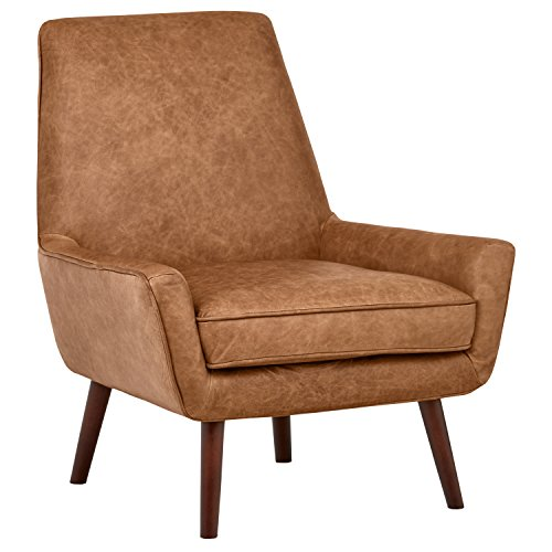 Rivet Jamie Mid-Century Leather Low Arm Accent Chair