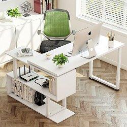 "Tribesigns Modern L-Shaped Desk, 55"" Rotating Desk Corner"