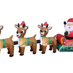 8 Foot Long Lighted Christmas Inflatable Santa Claus on Sleigh