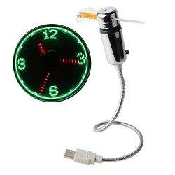 New Portable Flexible USB LED Clock Fans Cooler