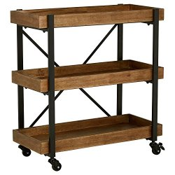 "Rivet Modern Wood Bar Cart, 32""H, Black"