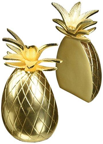 "8 Oak Lane Finish Pineapple Bookends Set of 2 8.5"" x 4, Gold"