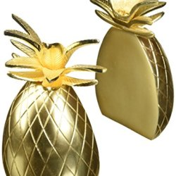 "8 Oak Lane Finish Pineapple Bookends Set of 2 8.5"" x 4, Gold"