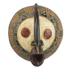 NOVICA Carved Ghanaian Aluminum Accent Sese Wood