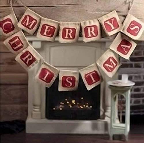 NUOLUX Merry Christmas Jute Burlap Banners