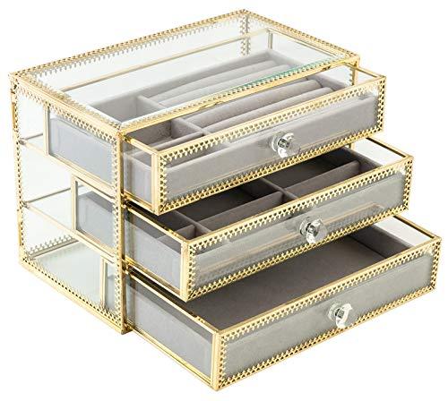 ORIGIA Jewelry Box Decorative Glass Metal Lace Jewelry
