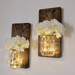 Set of Two Lighted Sconces Country Rustic Mason Jar