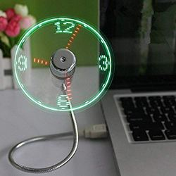 OnetwoUSB LED Clock Fan with Real Time Display Function
