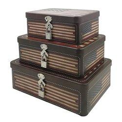 Fifriver American Flag Decorative Storage Box Metal