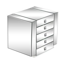Deco Mirrored Wooden 5-Drawer Jewelry Chest