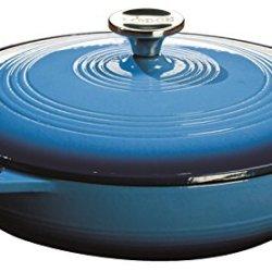 Lodge 3.6 Quart Cast Iron Casserole Pan. Blue Enamel Cast Iron