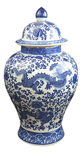 "Festcool 20"" Classic Blue and White Porcelain Dragon"