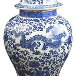 """Festcool 20"""" Classic Blue and White Porcelain Dragon"""