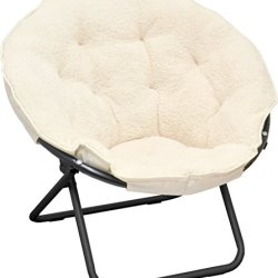 Urban Shop Sherpa Saucer Chair, Ivory
