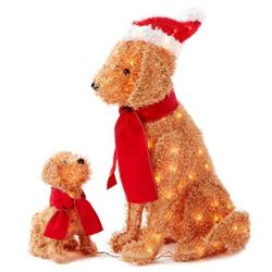 Set of 2 Fuzzy Lighted Dogs Mama & Puppy Display Outdoor