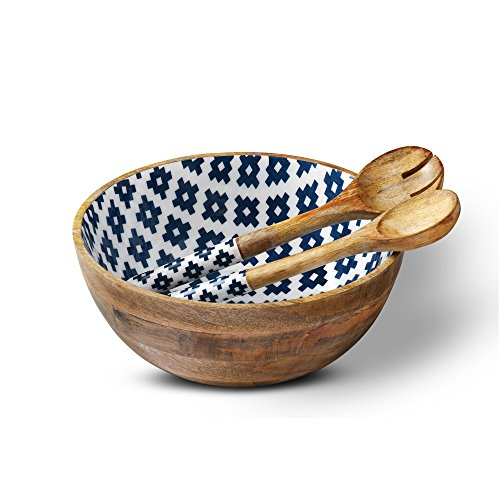 Wooden Salad Bowl Colorful Serving Bowls with 2 Servers