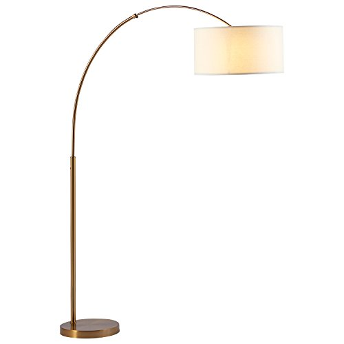 "Rivet Brass Arc Floor Lamp, 76""H, With Bulb"