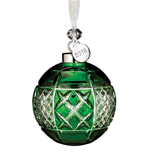 """Waterford Emerald Ball Ornament 3.3"""""""