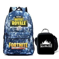 Kids Fortnite Backpack + Lunch Box School Bookbag