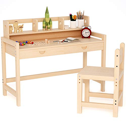 Tribesigns Unfinished Kids Study Desk and Chair Set