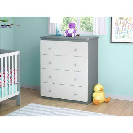 Cosco Willow Lake 4-Drawer Dresser, White/Gray