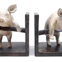 DCI Pig Bookend Set of Two Pig Pair Climbing Fence Resin