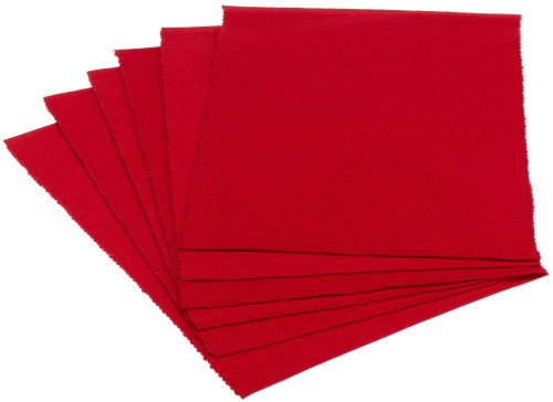 DII Everyday Basic Placemat Set of 6, Tango Red