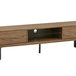 Rivet Industrial Metal Leg TV Media Console, Walnut