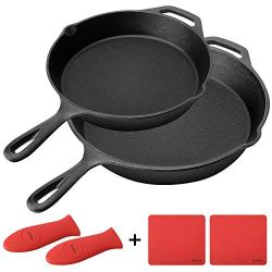 Cast Iron Skillet, BAYKA Pre-Seasoned 6-Piece Set