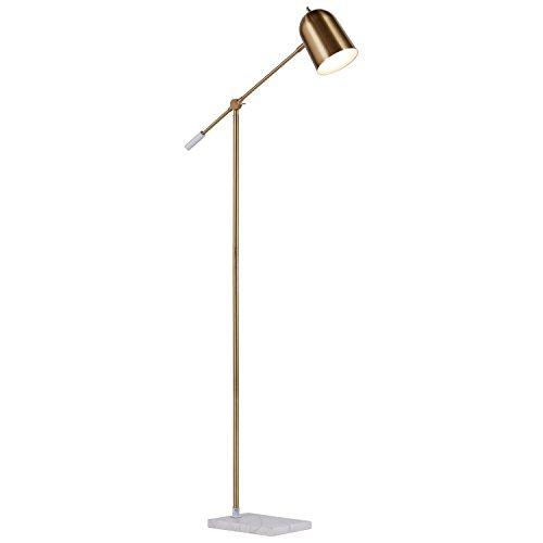 """Rivet Avery Marble and Brass LED Floor Lamp, 63""""H"""
