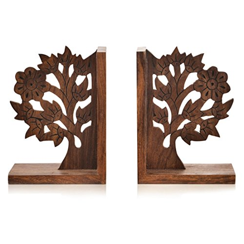 ExclusiveLane Wooden Tree Life Book End in Sheesham Wood