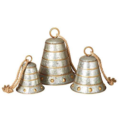 Set of 3 Metal Galvanized Christmas Bells 8.5