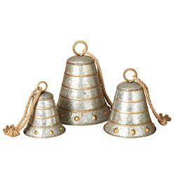 Set of 3 Metal Galvanized Christmas Bells 8.5