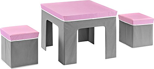 Cosco Jamie Folding Kids' Table and Ottoman Set, Pink/Gray
