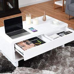 Tangkula Modern Coffee Table Drawer LED