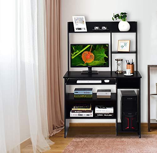 Computer Workstation with Storage Bookcase